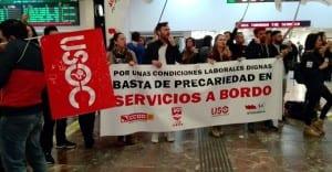 USO huelga ferrovial servicios a bordo