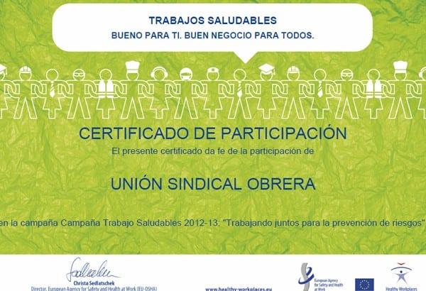 La USO participa en la campaña europea Trabajos Saludables 2013