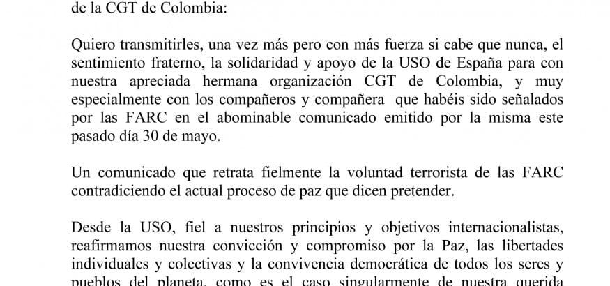 Carta del Secretario General Confederal de la USO a los compañeros de la CGT de Colombia