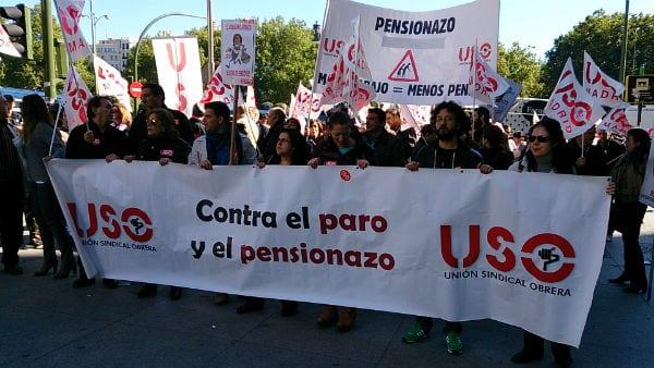 La USO en las calles contra el pensionazo