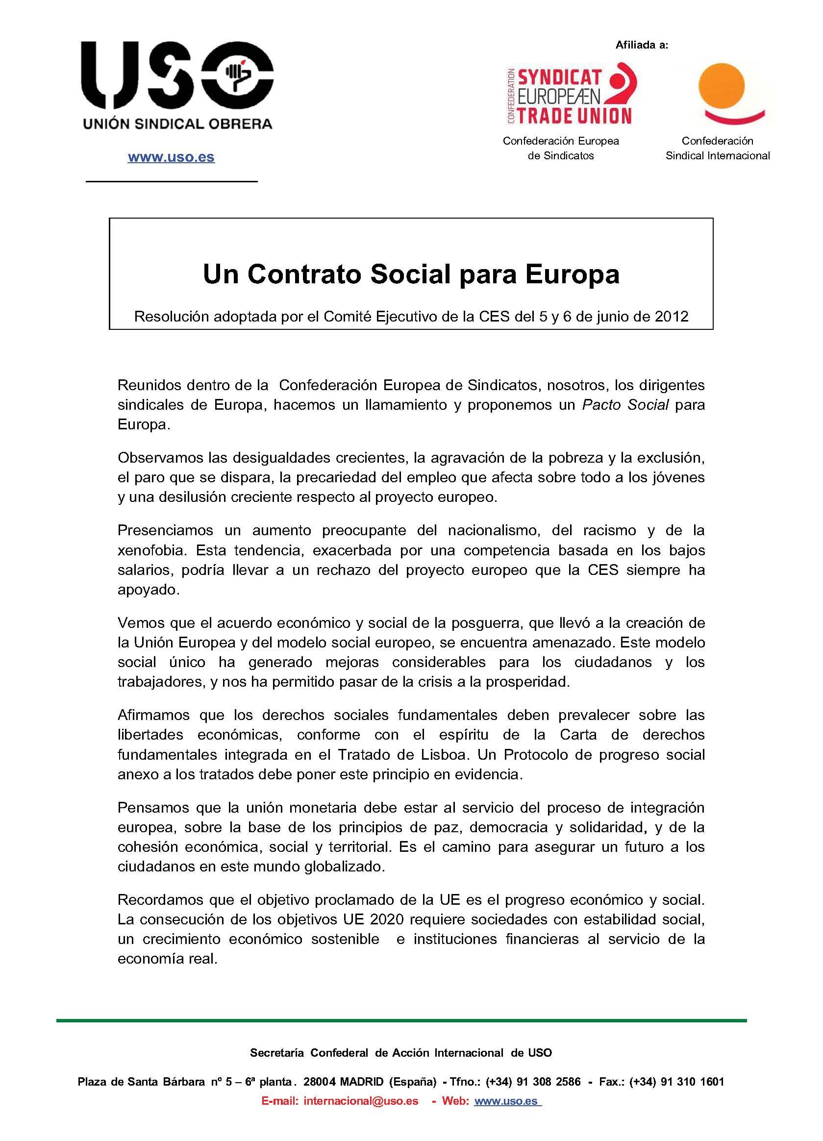 CES: un Contrato Social para Europa