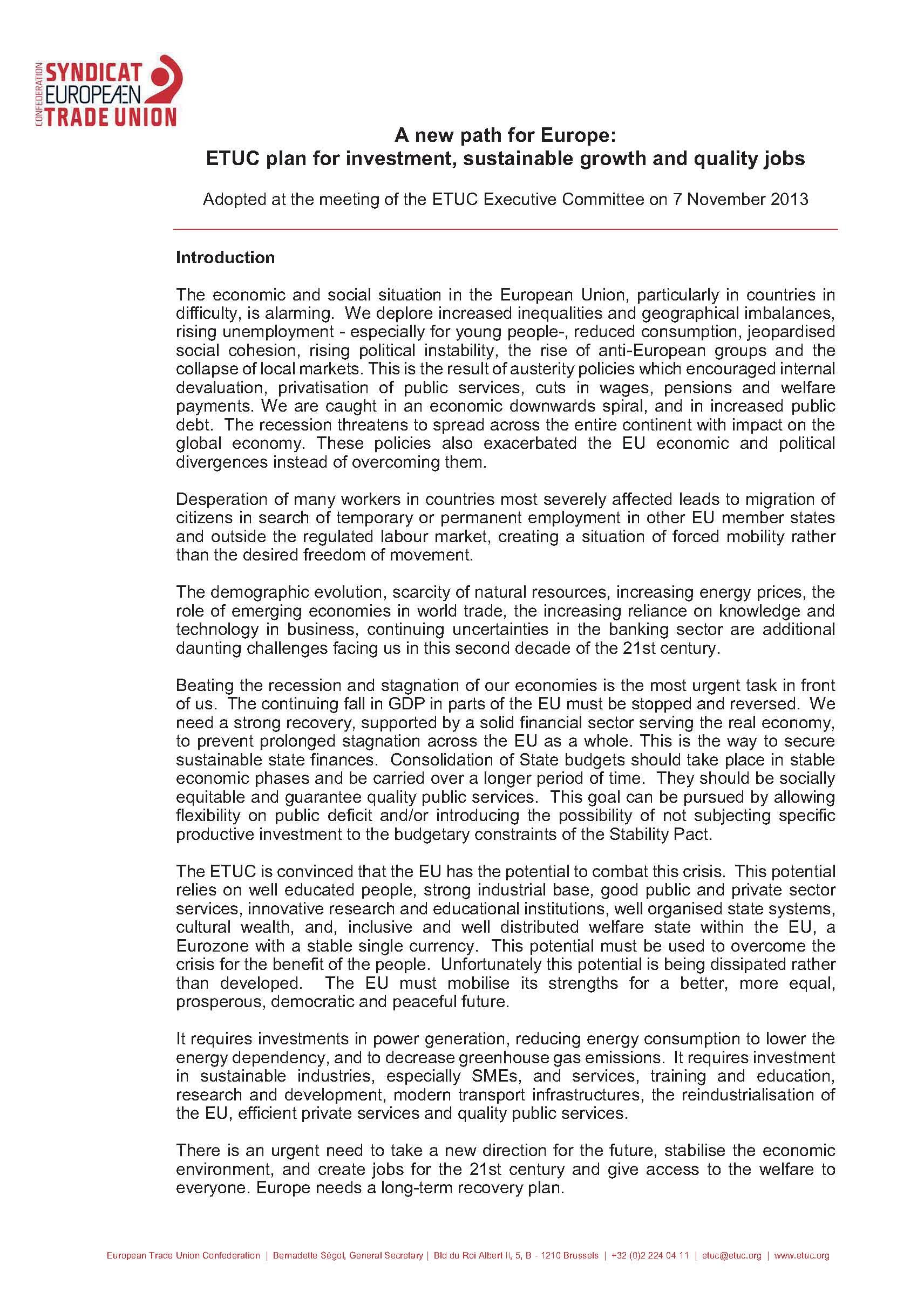 CES: Un nuevo pacto para Europa, Plan de Inversiones, Desarrollo Sostenible y Empleos de Calidad