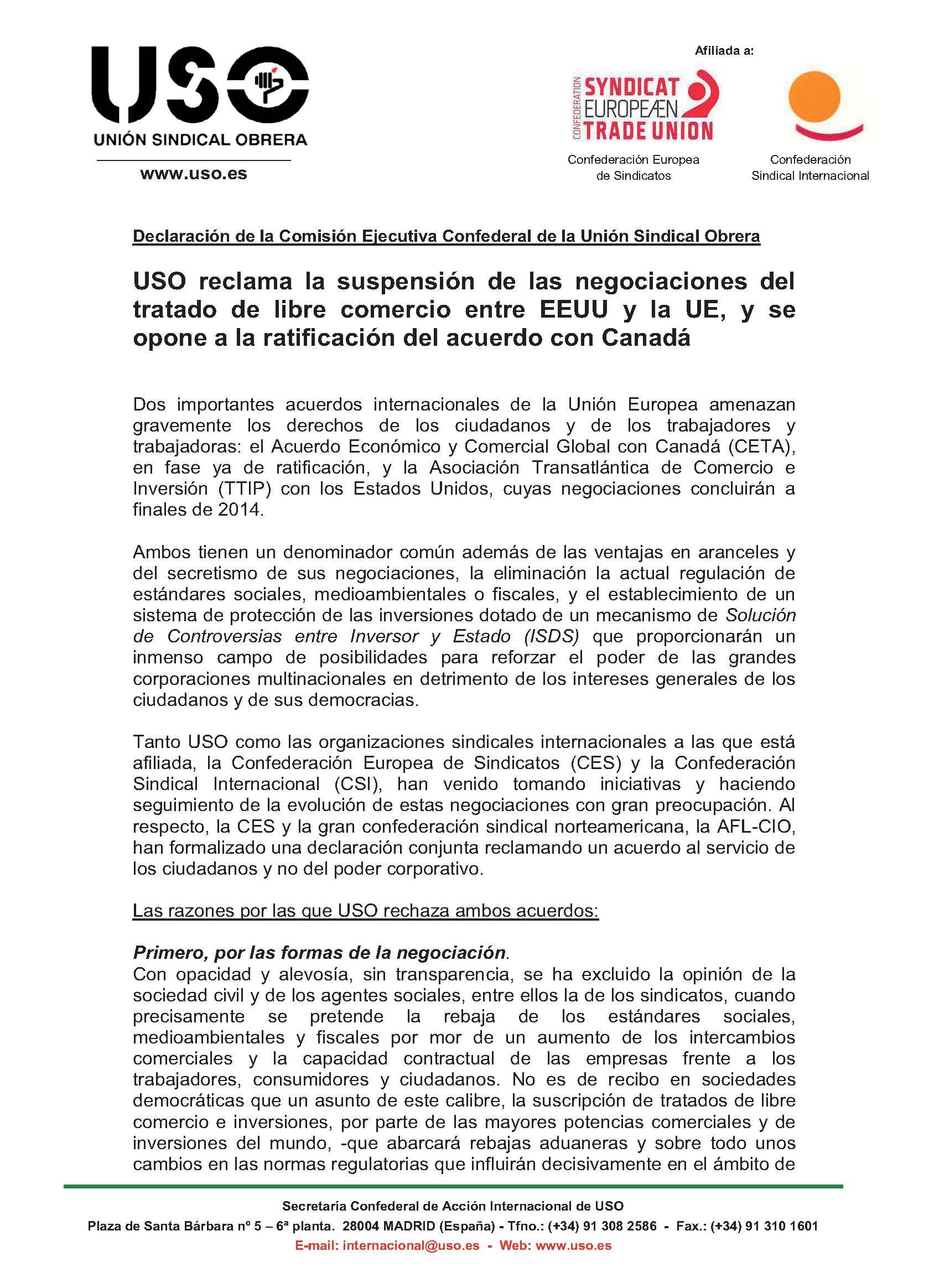 USO: rechazo a los tratados de libre comercio UE-EEUU y UE-Canadá