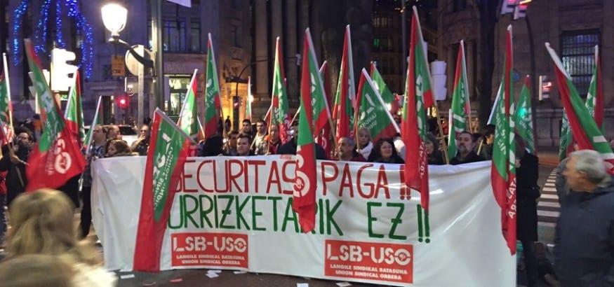 Nueva concentración en Bilbao de los trabajadores de seguridad privada