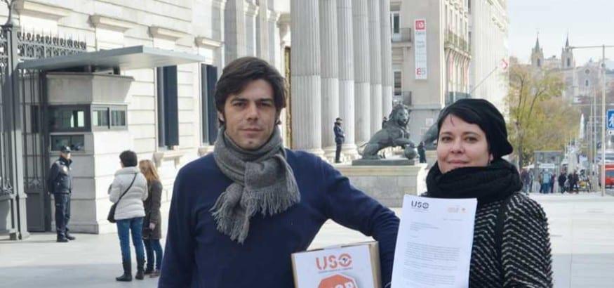 USO registra en el Congreso las firmas contra la Ley de Mutuas