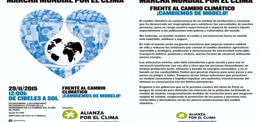 Este domingo, 29 de noviembre, acude a la Marcha Mundial por el Clima