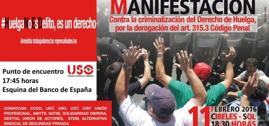 Manifestación HUELGA NO ES DELITO