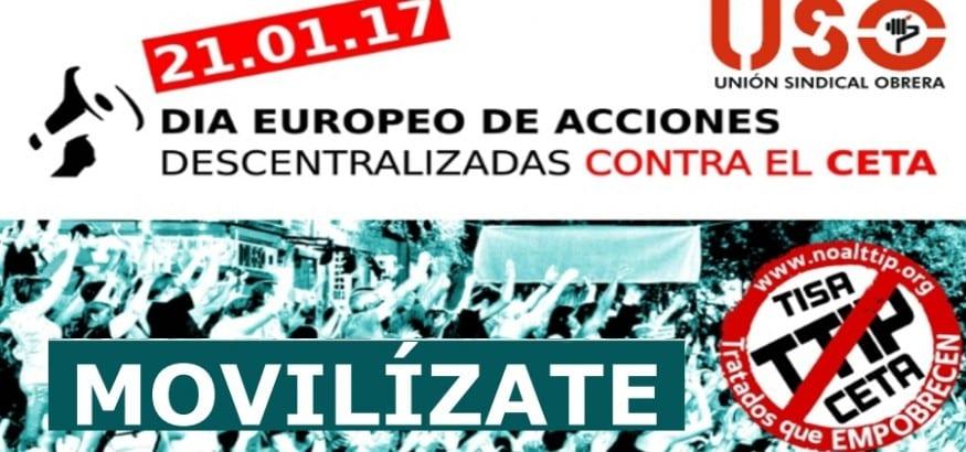 USO respalda las movilizaciones en contra del tratado comercial UE-Canadá (CETA)