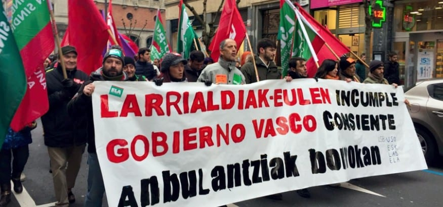 LSB-USO y  los trabajadores de ambulancias se echan a la calle en Bilbao