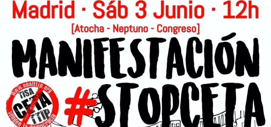 USO llama a participar en la manifestación #STOPCETA del 3 de junio en Madrid