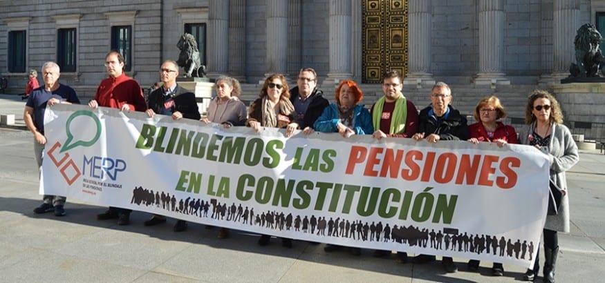 La MERP reivindica frente al Congreso el blindaje de las pensiones en la Constitución
