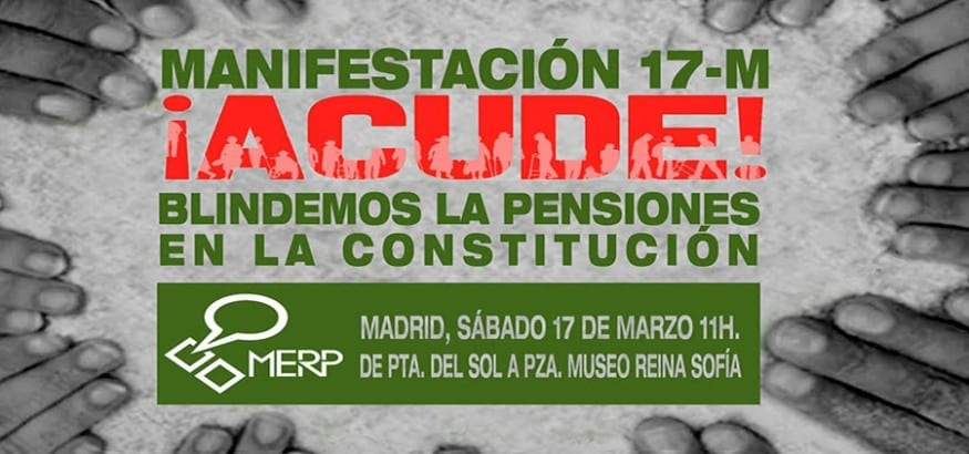 USO se manifiesta el 17 de marzo en Madrid para frenar la ofensiva contra las pensiones