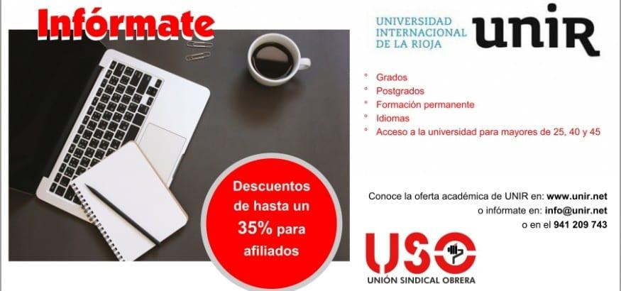USO firma un convenio de colaboración con la UNIR con descuentos para afiliados