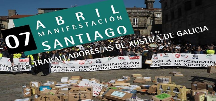 Los funcionarios de Justicia gallegos se manifiestan este sábado tras dos meses de huelga