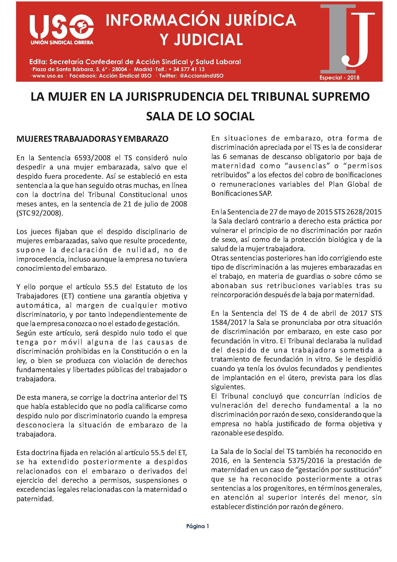 Información Jurídica y Judicial – Especial Mujer