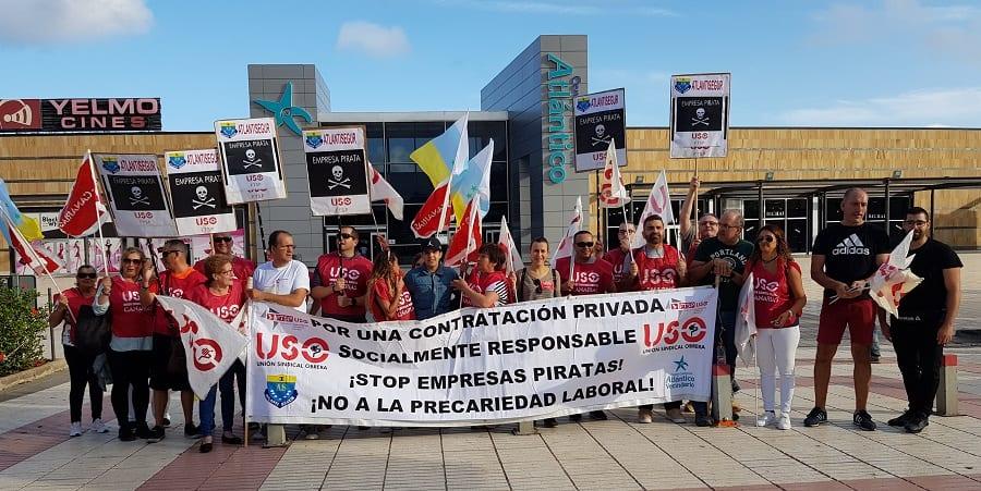 La FTSP-USO de Canarias se concentra para exigir un convenio justo en Atlantisegur