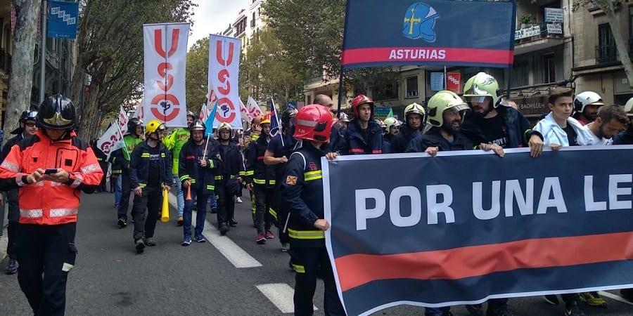 La FEP-USO, en la gran manifestación de Madrid por una ley marco para los bomberos