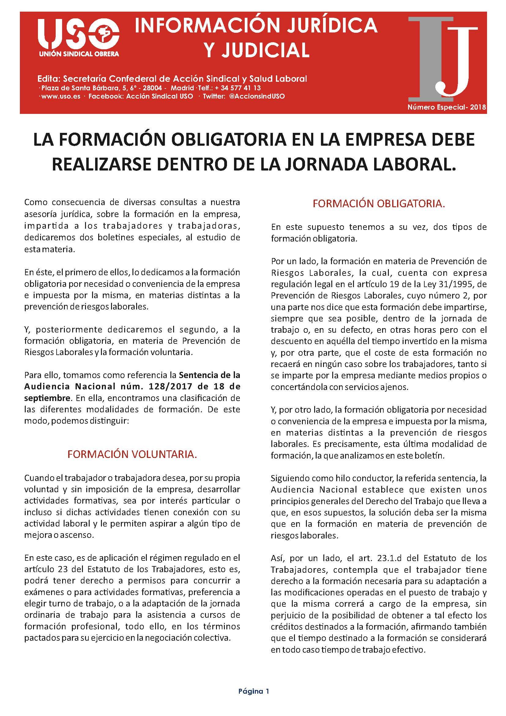 Información Jurídica Número Especial Formación obligatoria