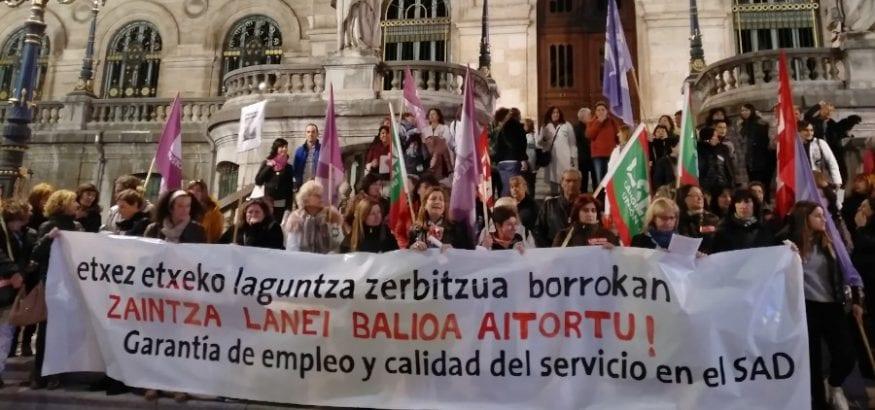 Las trabajadoras del SAD de Bizkaia finalizan sus últimas jornadas de huelga por un convenio digno