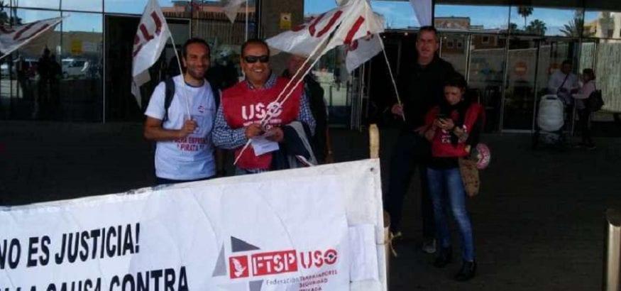 FTSP-USO Canarias se concentró ante la Ciudad de Justicia contra los empresarios pirata