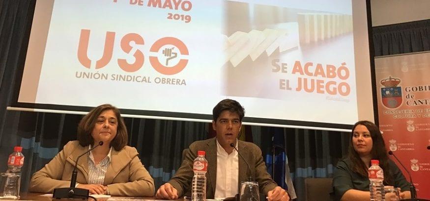 Joaquín Pérez presenta en Santander el 1º de Mayo junto con la secretaria general de USO-Cantabria