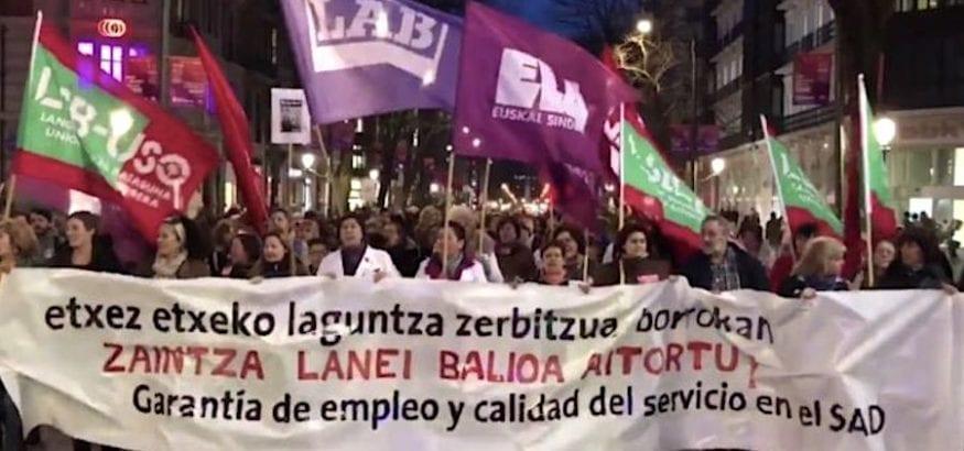 Las trabajadoras de Ayuda a Domicilio de Bizkaia vuelven a la huelga