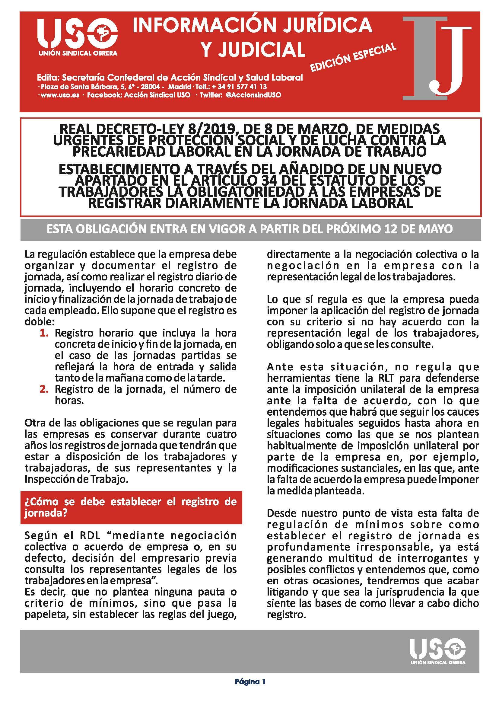 Información Jurídica y Judicial. Edición especial Registro de Jornada