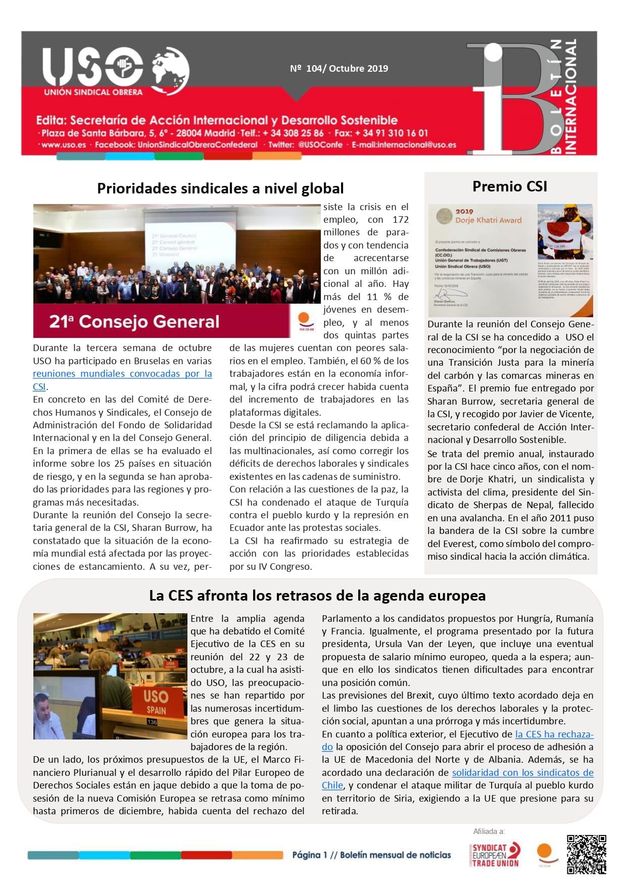 Boletín Internacional Nº 104