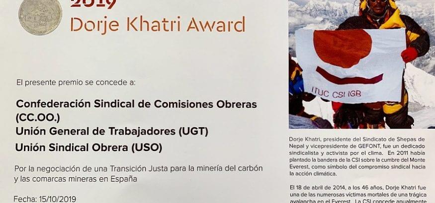USO recibe un premio de la CSI por la negociación del Acuerdo del Carbón