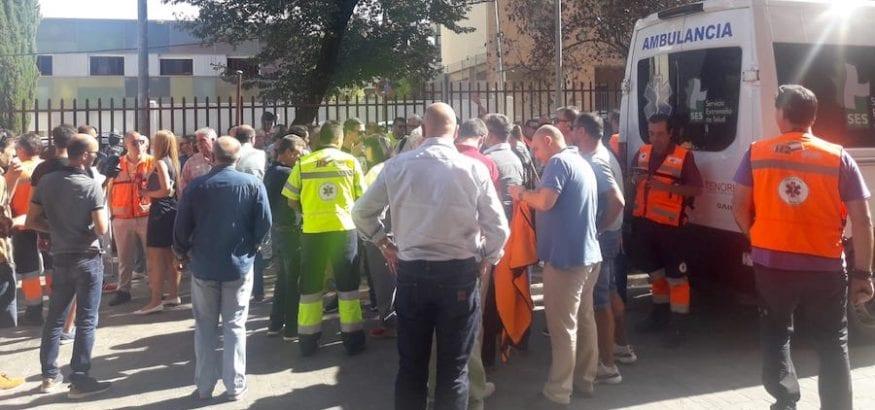La plantilla de Ambulancias Tenorio inicia el primero de los paros del mes de octubre