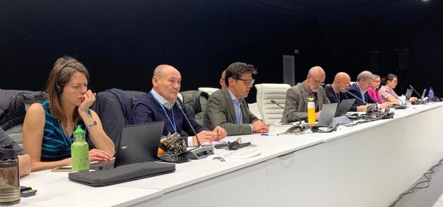 Joaquín Pérez da la bienvenida a la delegación sindical de la CSI en la COP25