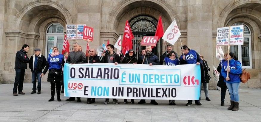 USO se concentra en Lugo contra el impago de salarios en Tempo Facility Services