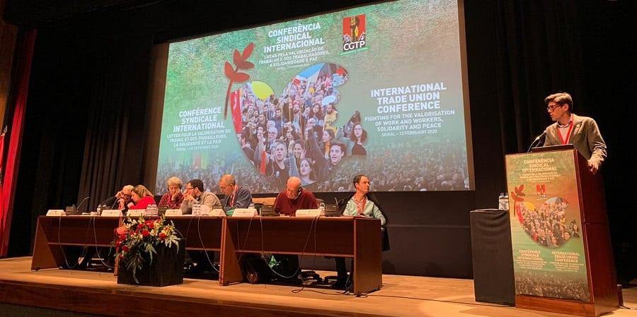 Joaquín Pérez interviene en el Congreso de la CGTP de Portugal