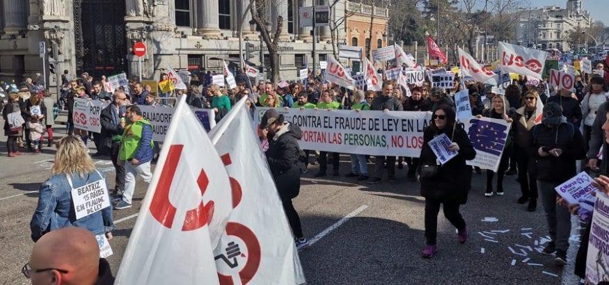 USO reivindica en la plural manifestación de Madrid atajar el fraude de ley en las Administraciones