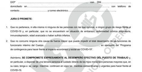 USO denuncia que el SEPE exige una declaración jurada de no estar contagiado por covid-19