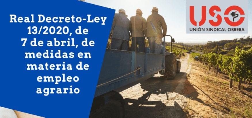 Analizamos el Real Decreto-Ley 13/2020 en materia de empleo agrario