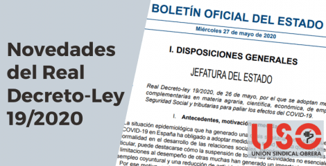 Novedades del Real Decreto-Ley 19/2020, de 26 de mayo