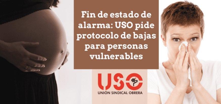 USO pide protocolo urgente para las bajas por coronavirus que acaban con el estado de alarma