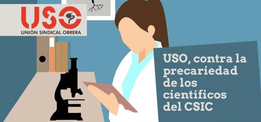 USO reclama la conversión en fijos de 50 científicos del CSIC