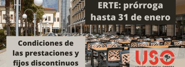 Prórroga de los ERTE hasta enero: prestación por desempleo y para fijos discontinuos