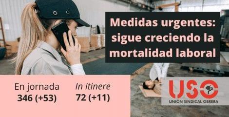 Sigue la escalada de la mortalidad en el trabajo a pesar de la baja actividad laboral