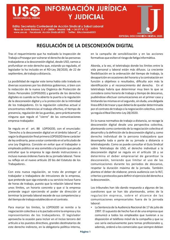 Boletín Información Jurídica. Especial desconexión digital