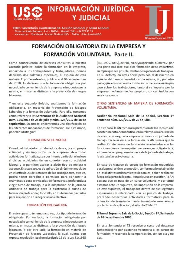 Boletín de Información Jurídica. Especial Formación II