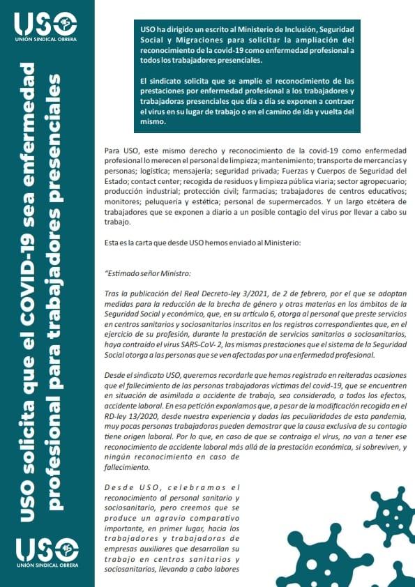 Solicitud covid-19 como enfermedad profesional