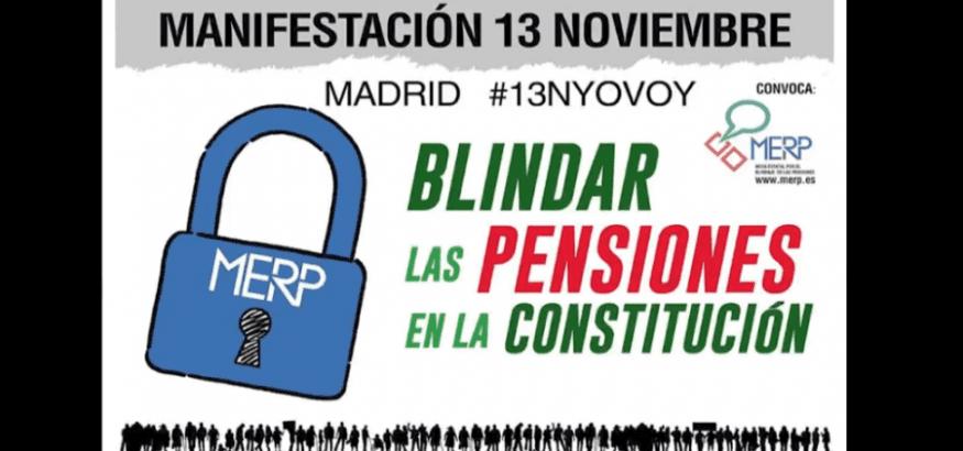 La MERP convoca manifestación el 13-N por el blindaje de las pensiones