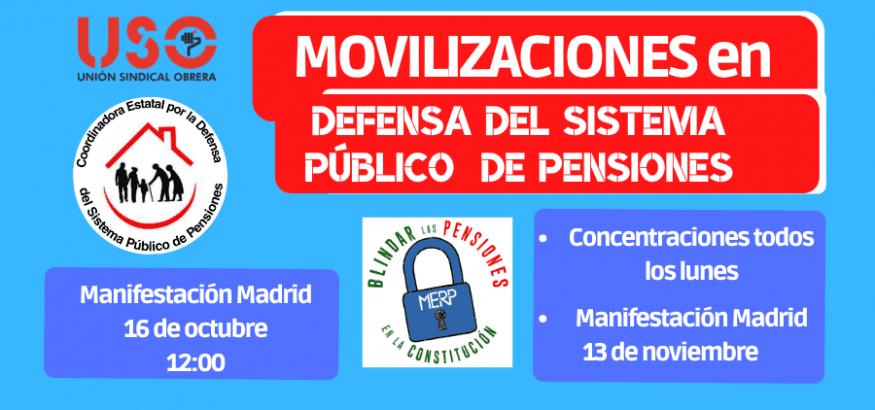 USO se moviliza en defensa del sistema público de pensiones