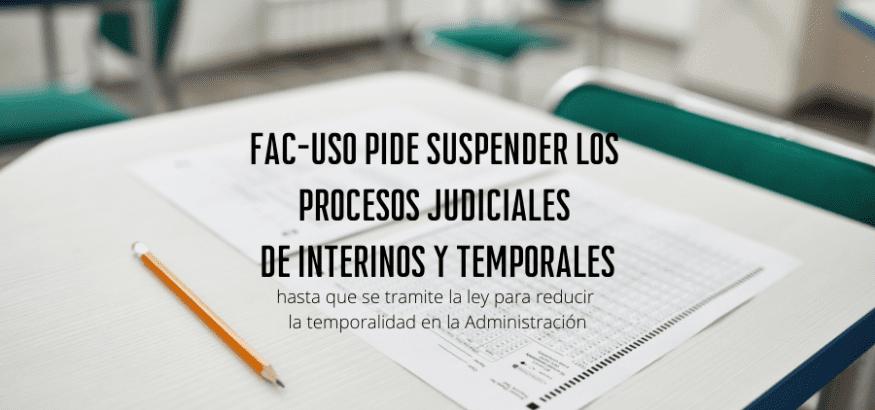 USO pide suspender los procesos judiciales de interinos y temporales hasta tramitar la ley