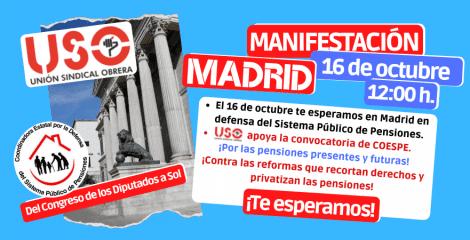 USO llama a participar en la manifestación de pensionistas del 16-O